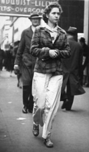 Mom walking to work, 1942